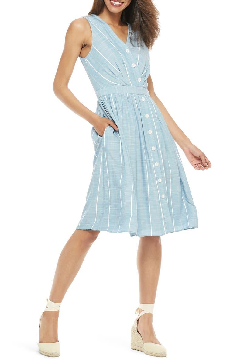 GAL MEETS GLAM COLLECTION Jill Button Front Surplice A-Line Dress, Main, color, BLUE