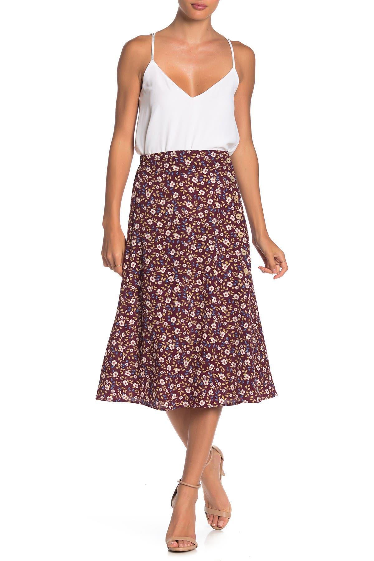 Image of GOOD LUCK GEM Floral Midi Skirt