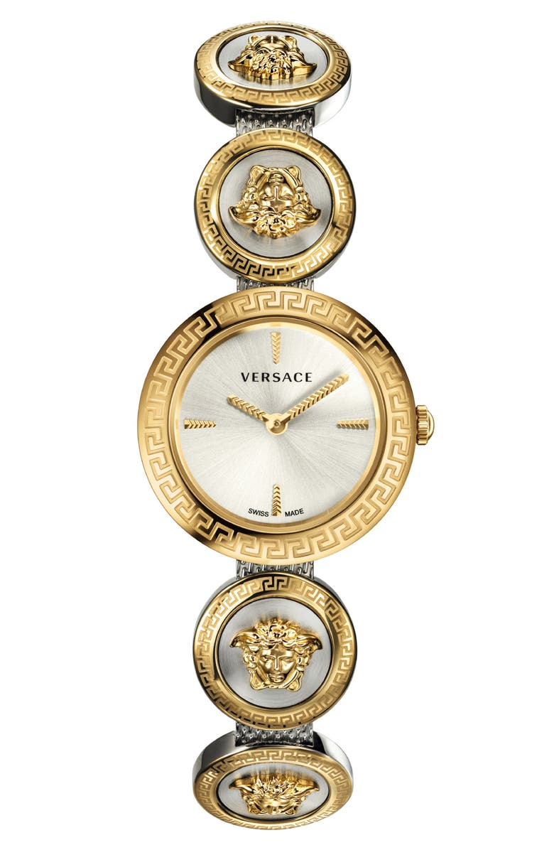 VERSACE Medusa Stud Icon Bracelet Watch, Main, color, GOLD/ SILVER