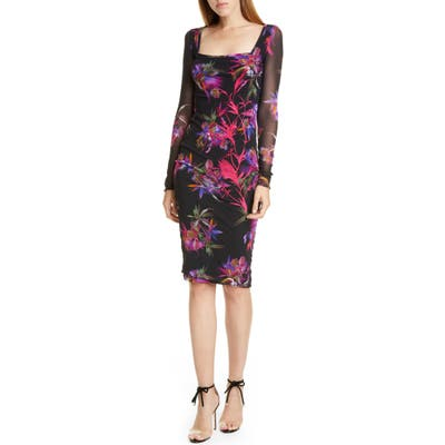 Fuzzi Floral Embroidered Long Sleeve Dress, Black