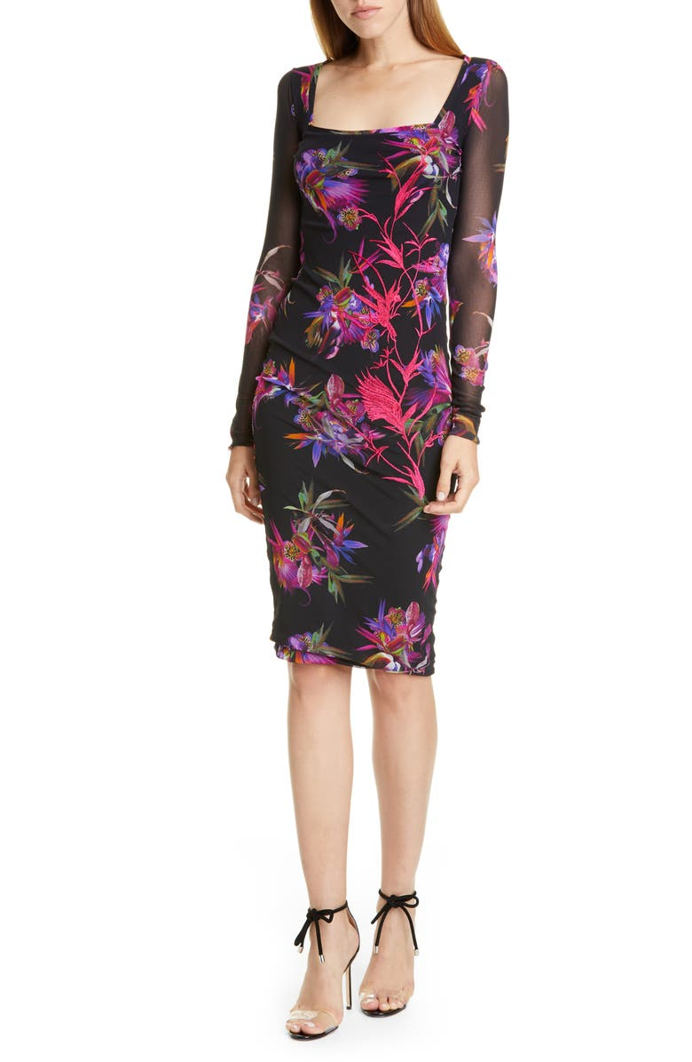 FUZZI Floral Embroidered Long Sleeve Dress, Main, color, NERO