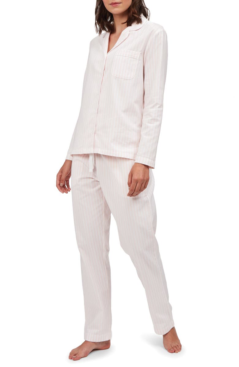 THE WHITE COMPANY Pink Stripe Brushed Cotton Pajamas, Main, color, PINK STRIPE