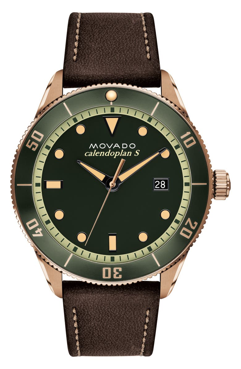 MOVADO Heritage Calendoplan Leather Strap Watch, 43mm, Main, color, CHOCOLATE/ GREEN/ BRONZE