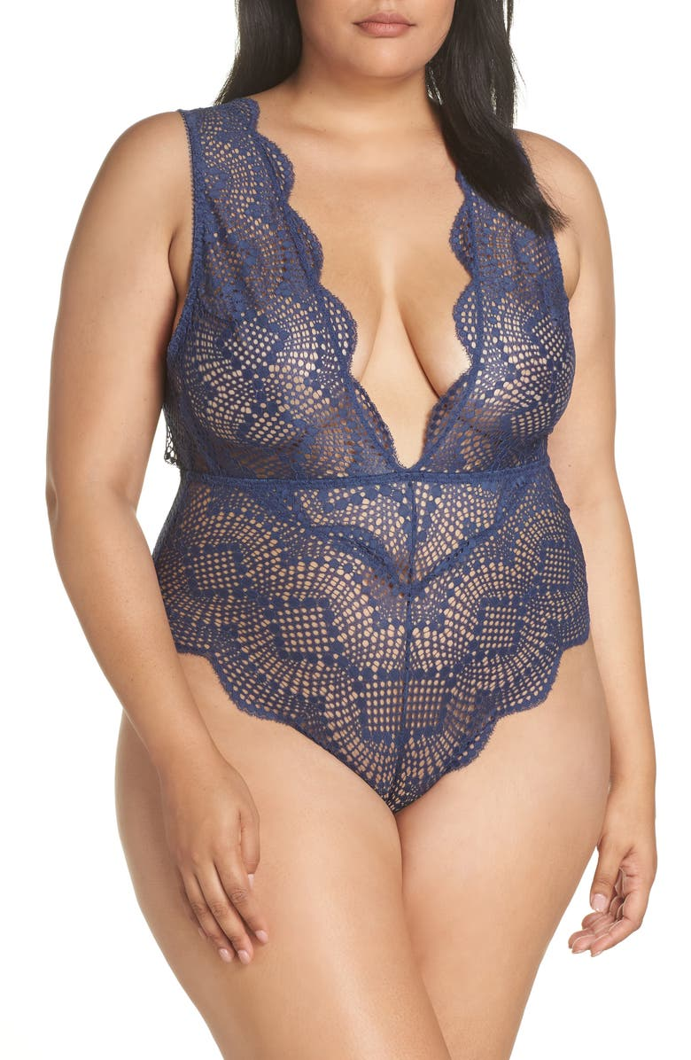 OH LA LA CHERI Plunge Neck Lace Teddy, Main, color, 405