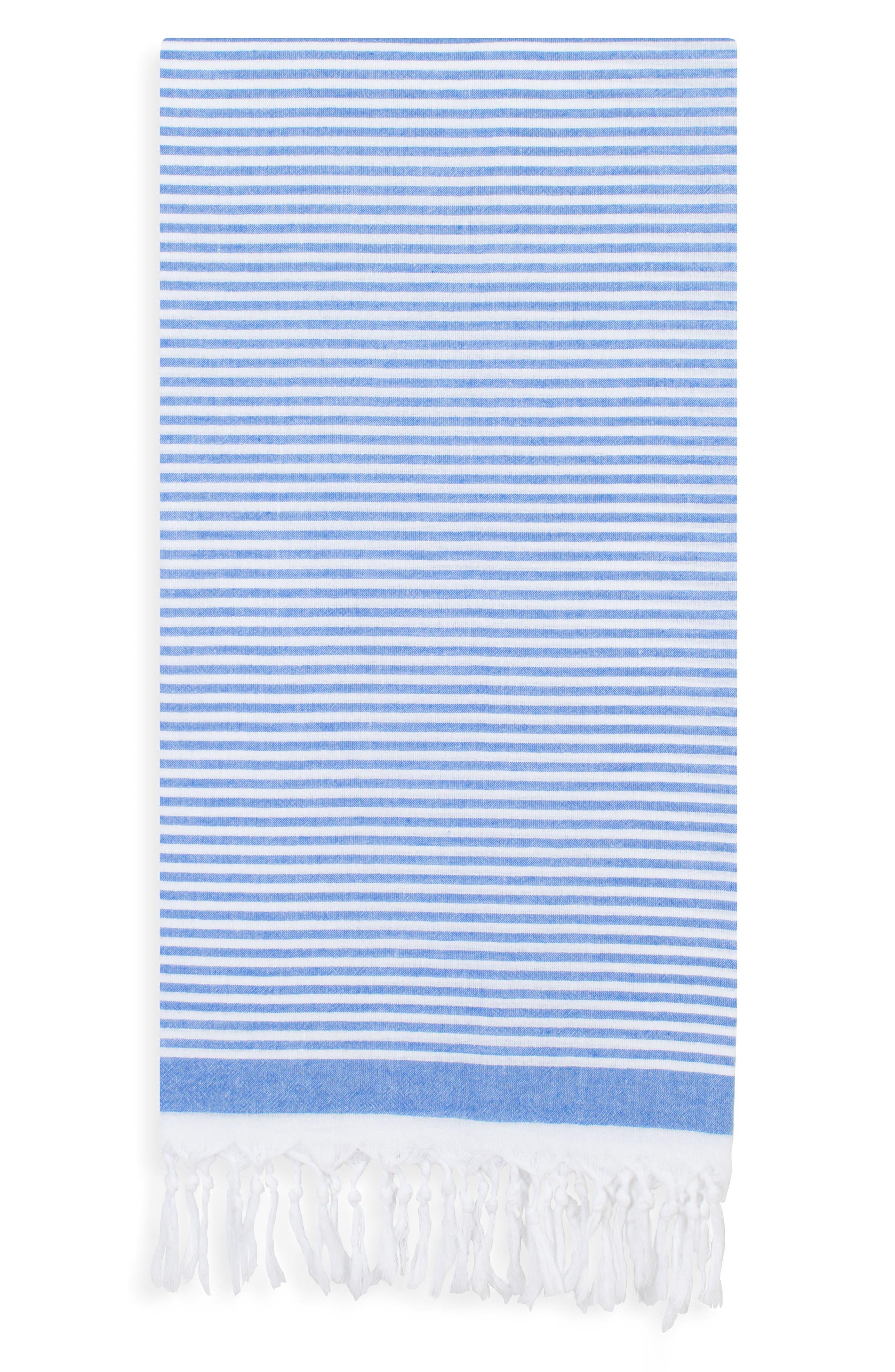 Soft Stripes Turkish Pestemal Towel, Main, color, ROYAL BLUE