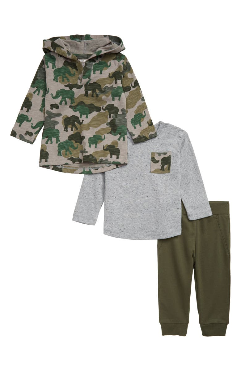 LITTLE ME T-Shirt, Print Hoodie & Jogger Pants Set, Main, color, GREEN