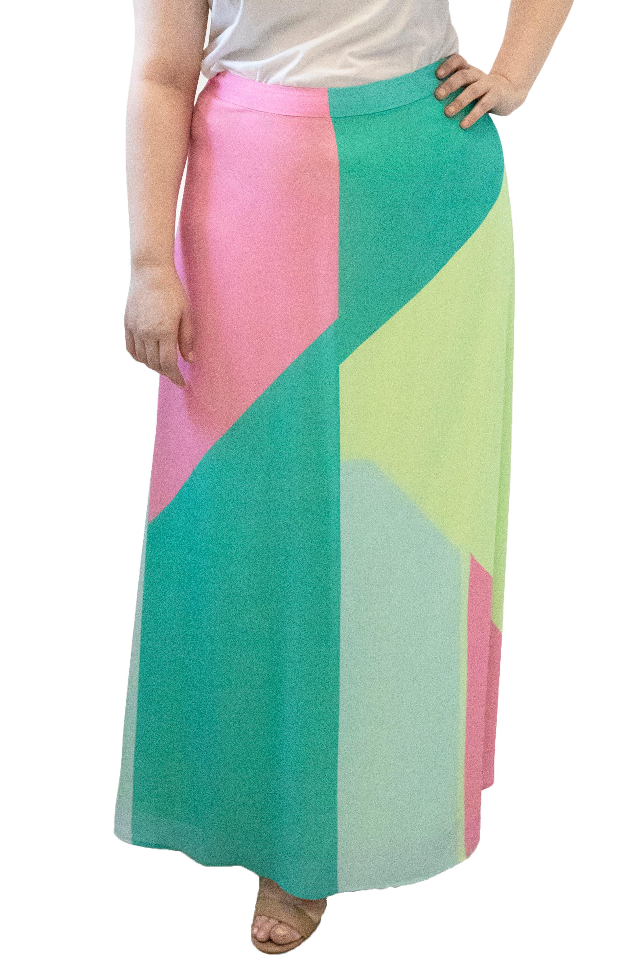 Geometric Colorblock Skirt