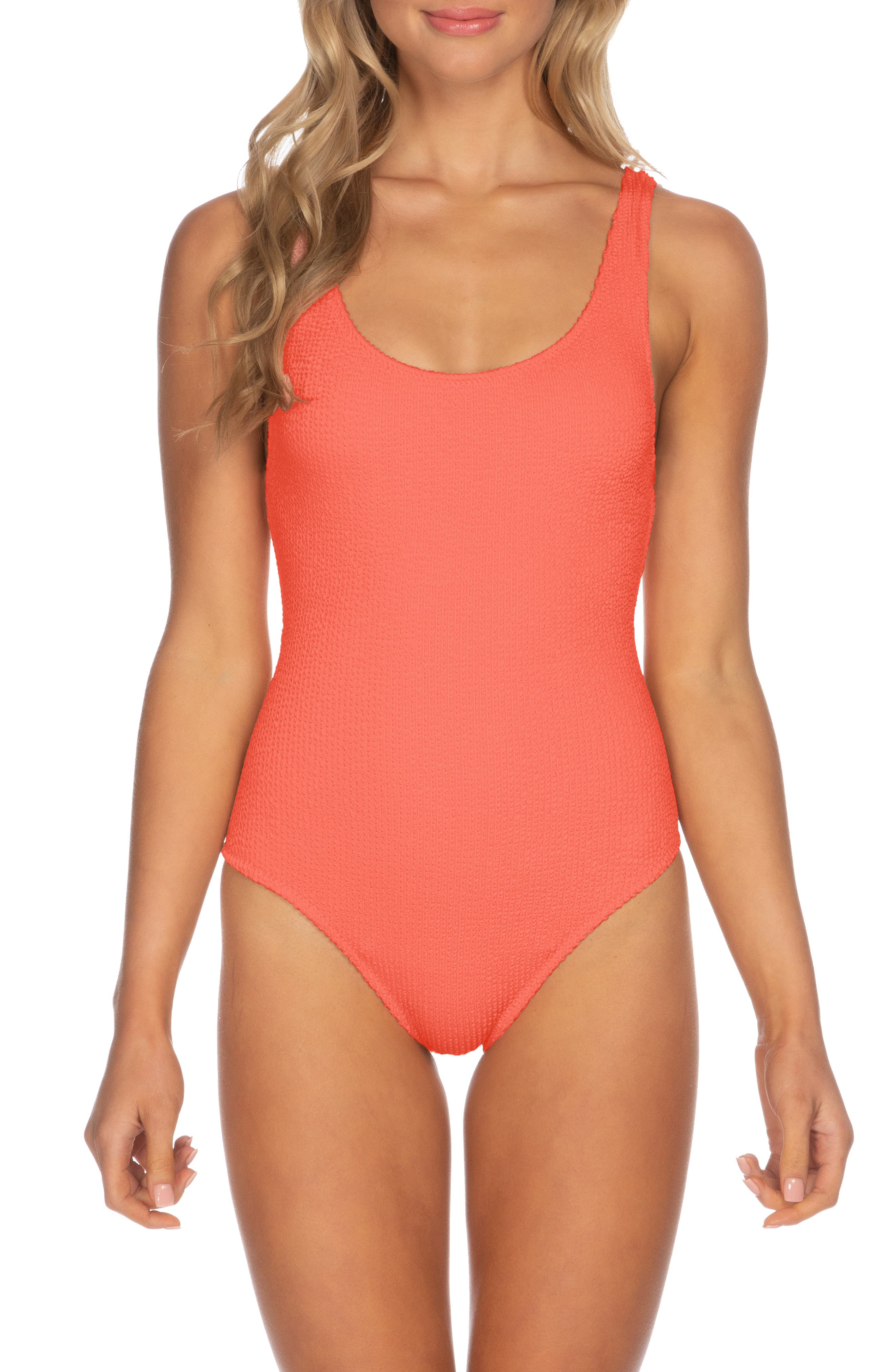 Isabella Rose Pucker Up Seersucker One-Piece Swim Suit, Coral