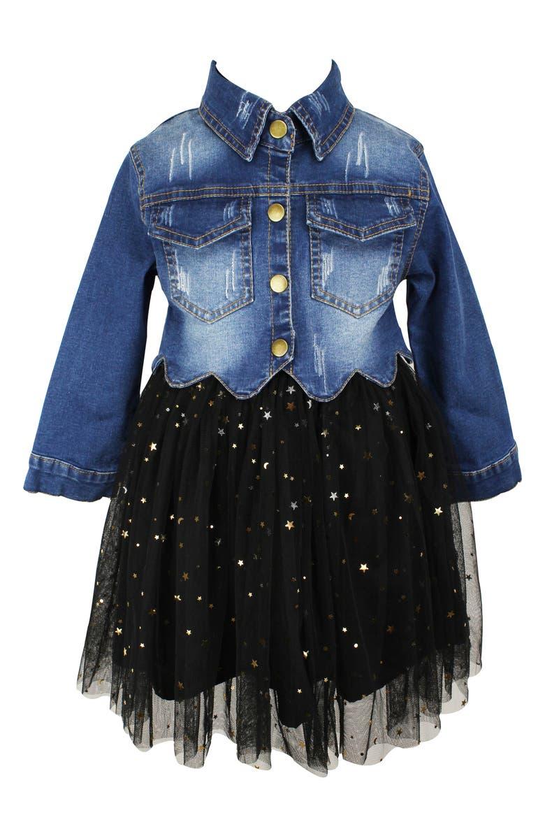 POPATU Gold Star Denim Tutu Dress, Main, color, BLACK/ BLUE