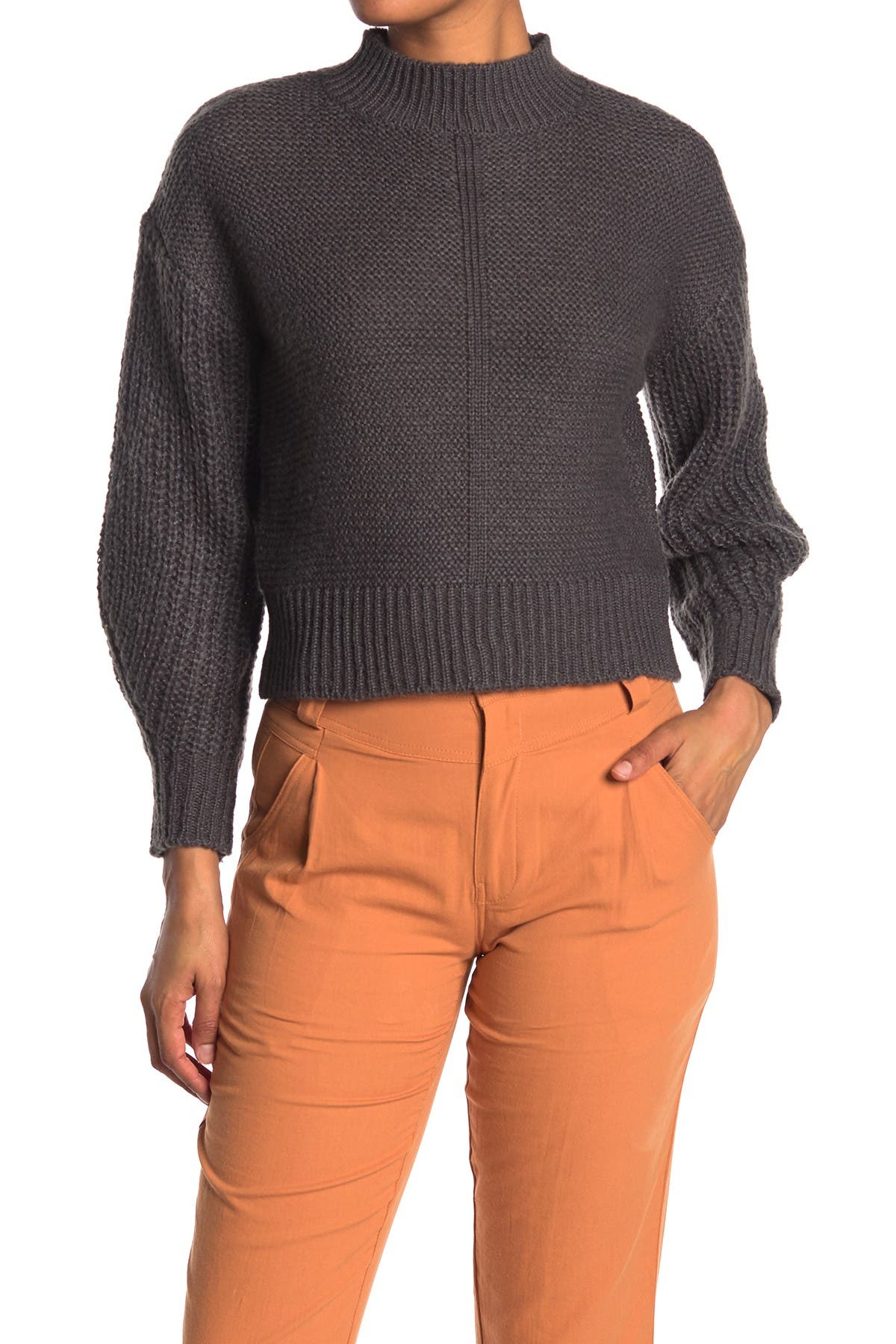 Image of Elodie Mock Neck Pullover Sweater