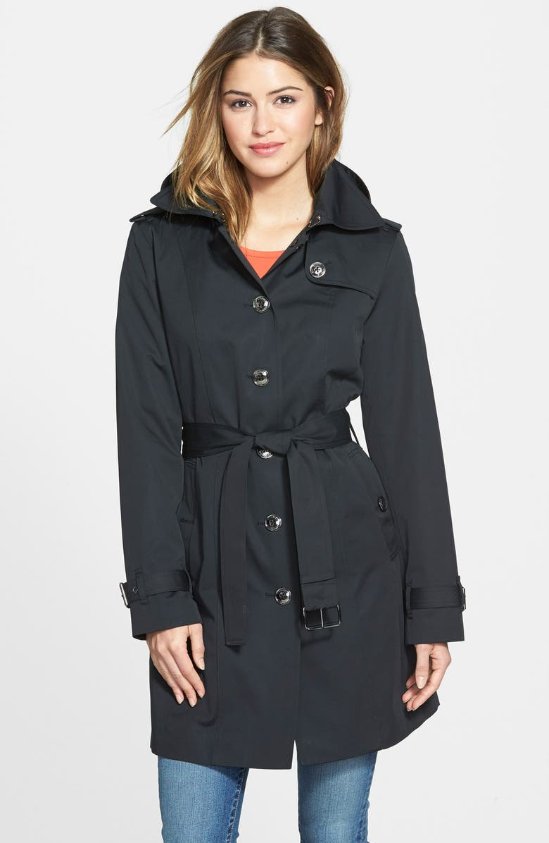 MICHAEL MICHAEL KORS Single Breasted Hooded Trench Coat with Removable Liner, Main, color, 001