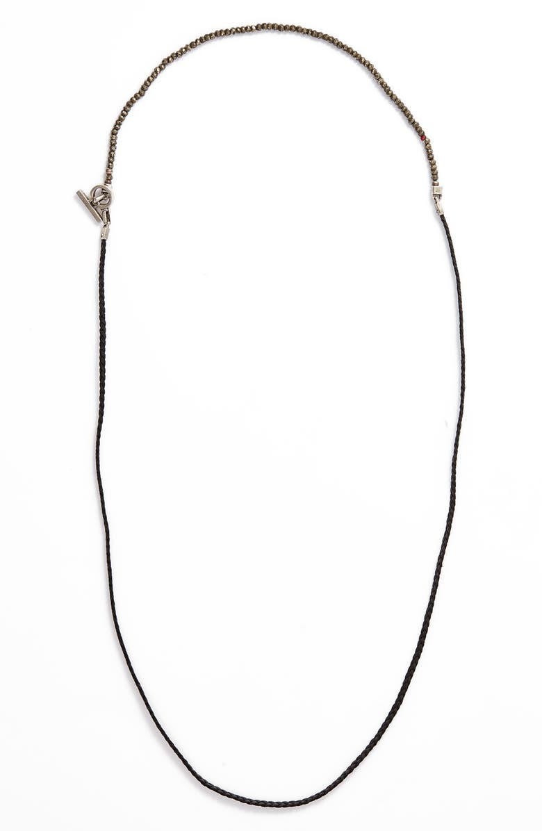 Title Of Work Braided Leather Pyrite Necklace