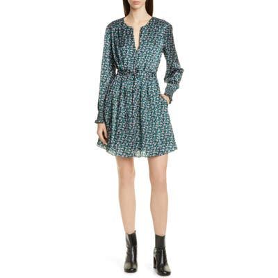 Jason Wu Mini Floral Print Long Sleeve Silk Dress, Blue