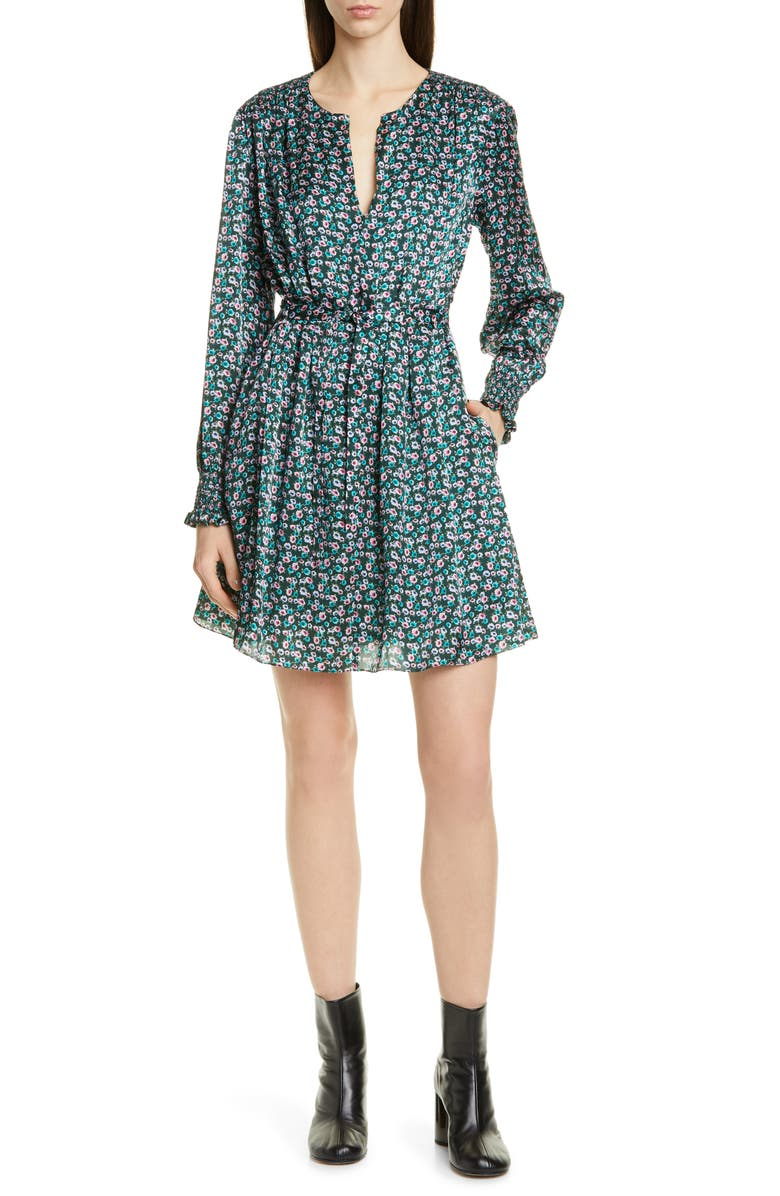 JASON WU Mini Floral Print Long Sleeve Silk Dress, Main, color, 400