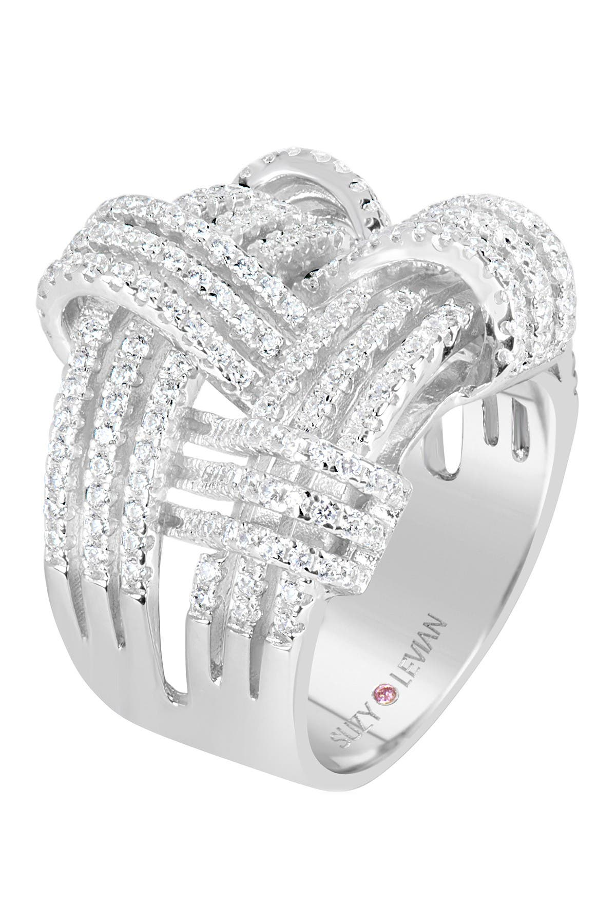 Suzy Levian Sterling Silver CZ Weaving Wide Band Ring at Nordstrom Rack
