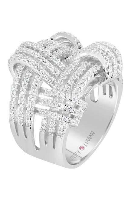 Image of Suzy Levian Sterling Silver CZ Weaving Wide Band Ring