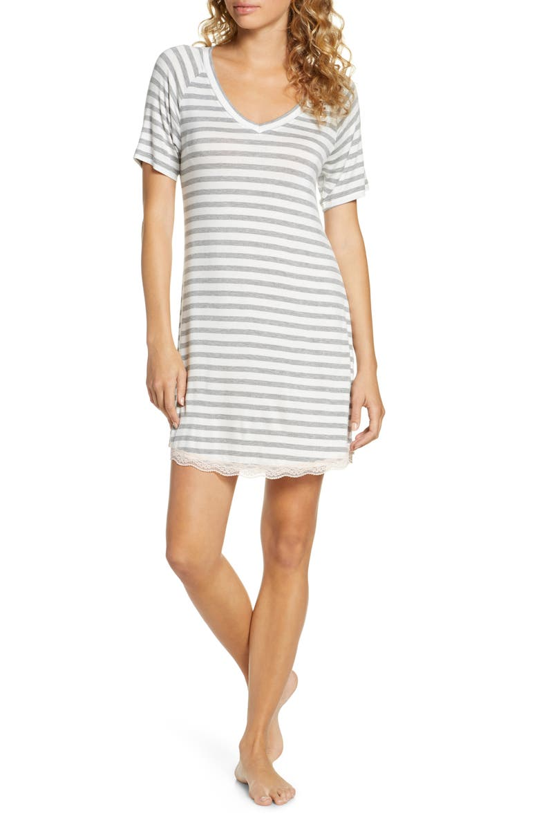 HONEYDEW INTIMATES All American Sleep Shirt, Main, color, IVORY STRIPE