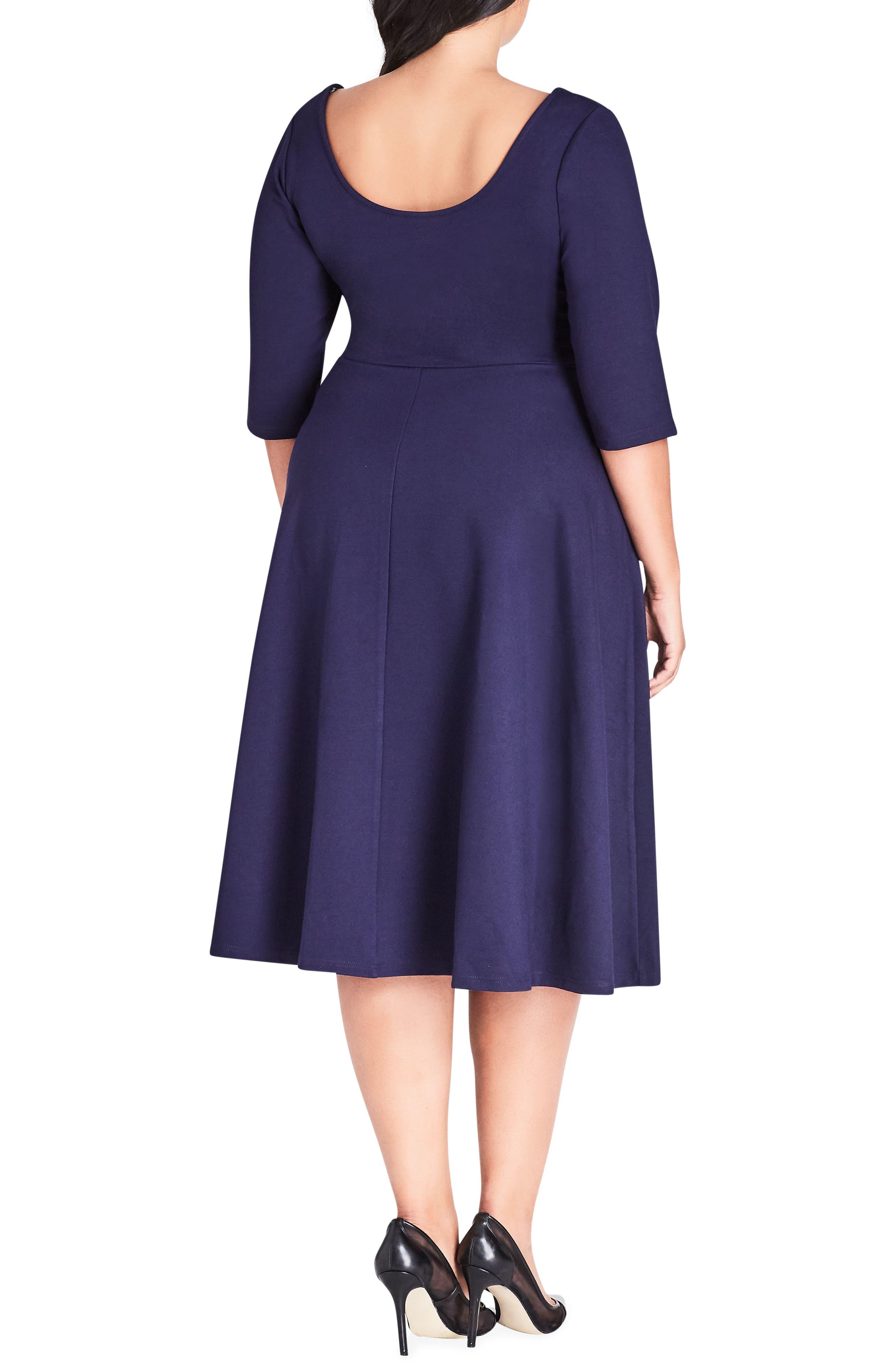 ,                             Scoop Neck A-Line Dress,                             Alternate thumbnail 2, color,                             NAVY