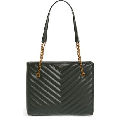 Saint Laurent Medium Tribeca Quilted Calfskin Leather Tote - Green