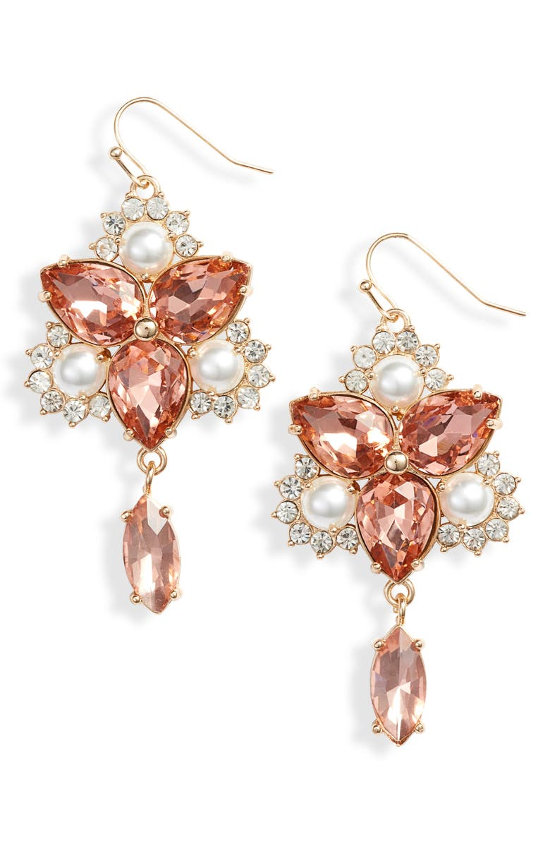 RACHEL PARCELL Vintage Crystal Chandelier Earrings, Main, color, 680