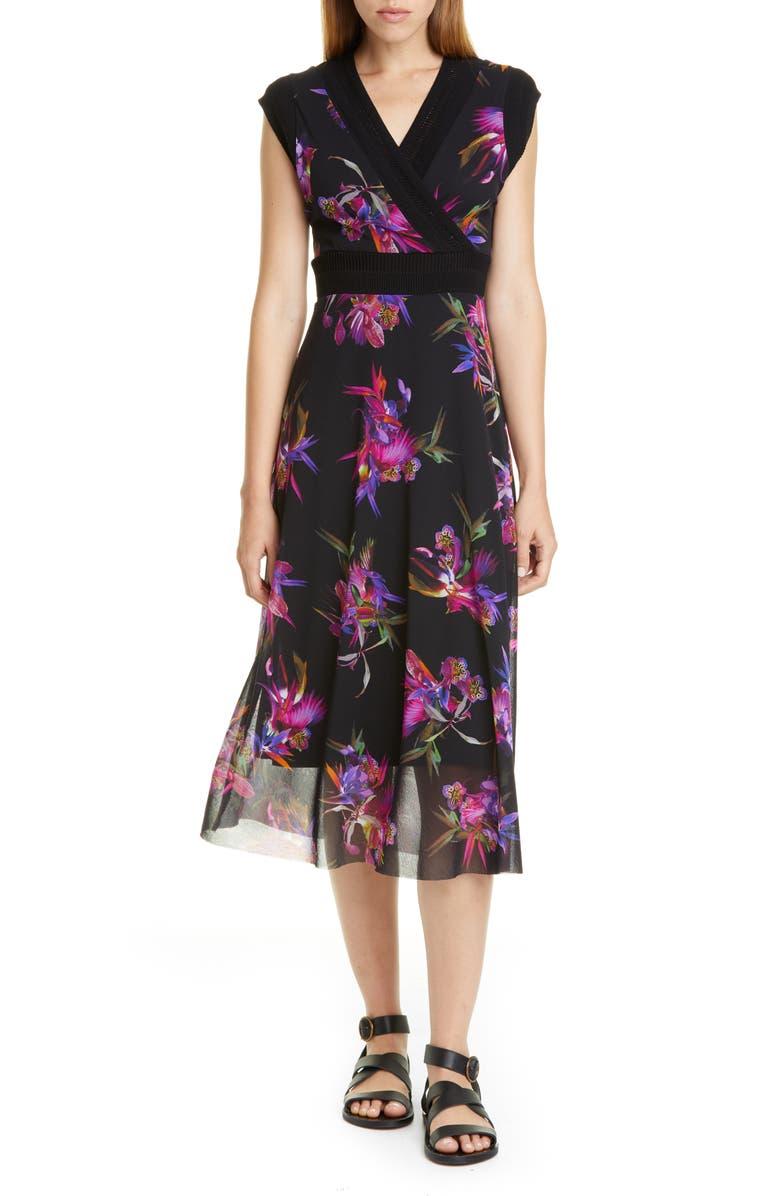 FUZZI Floral Print Midi Dress, Main, color, NERO