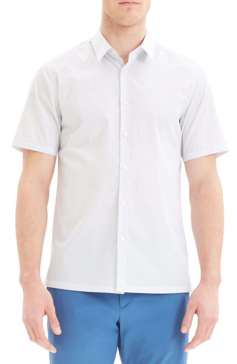 THEORY Felix Slim Fit Dot Print Short Sleeve Button-Up Shirt, Main, color, 100