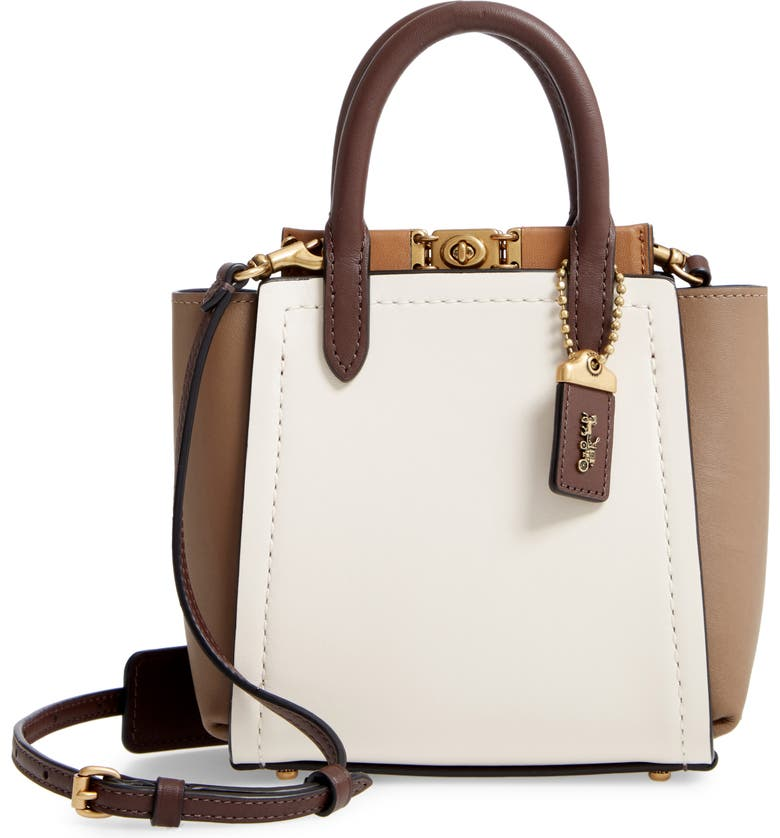 COACH Troupe Colorblock Leather Tote, Main, color, 100