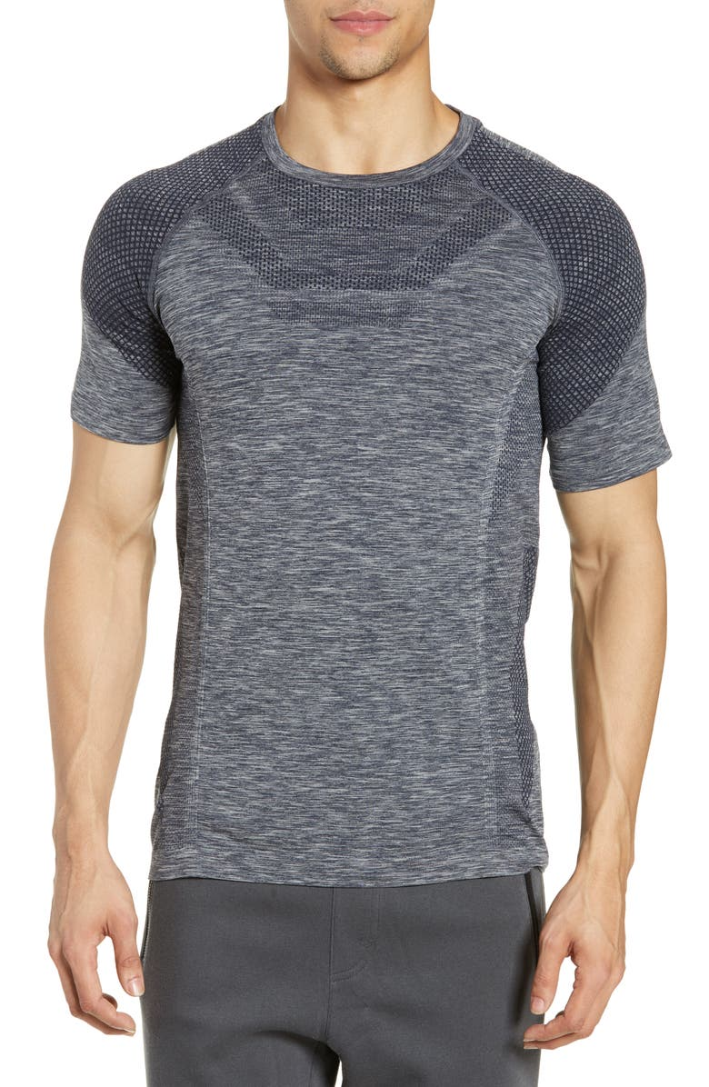 ALO Amplify Seamless Technical T-Shirt, Main, color, DARK NAVY HEATHER