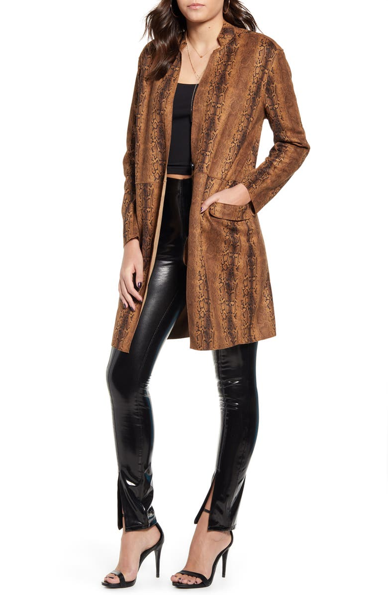 BLANKNYC Snake Print Long Faux Leather Coat, Main, color, COPPERHEAD
