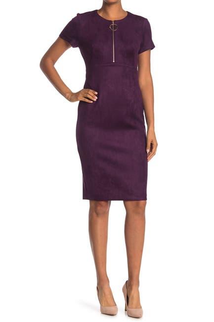 Image of Calvin Klein O-Ring Zip Sheath Dress
