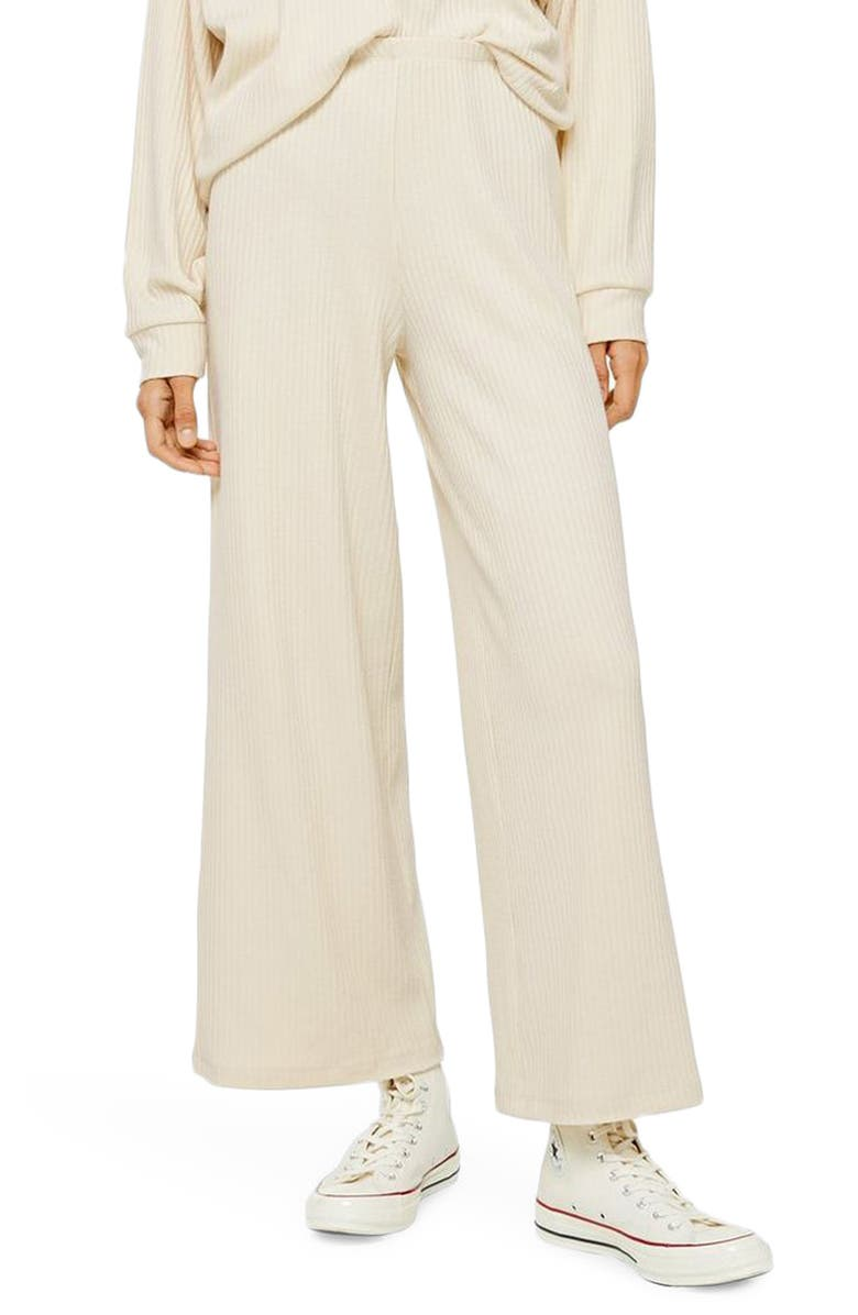 TOPSHOP Rib Wide Leg Lounge Pants, Main, color, CREAM