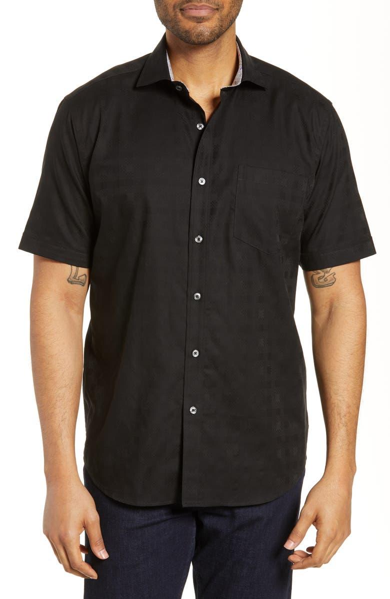 BUGATCHI Classic Fit Cotton Shirt, Main, color, BLACK