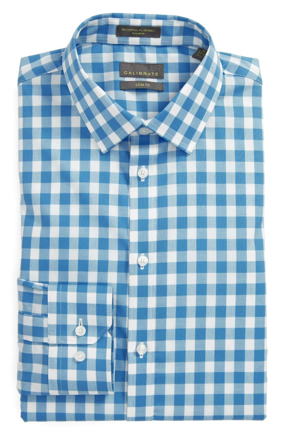 ,                             Slim Fit Non Iron Gingham Dress Shirt,                             Main thumbnail 15, color,                             420