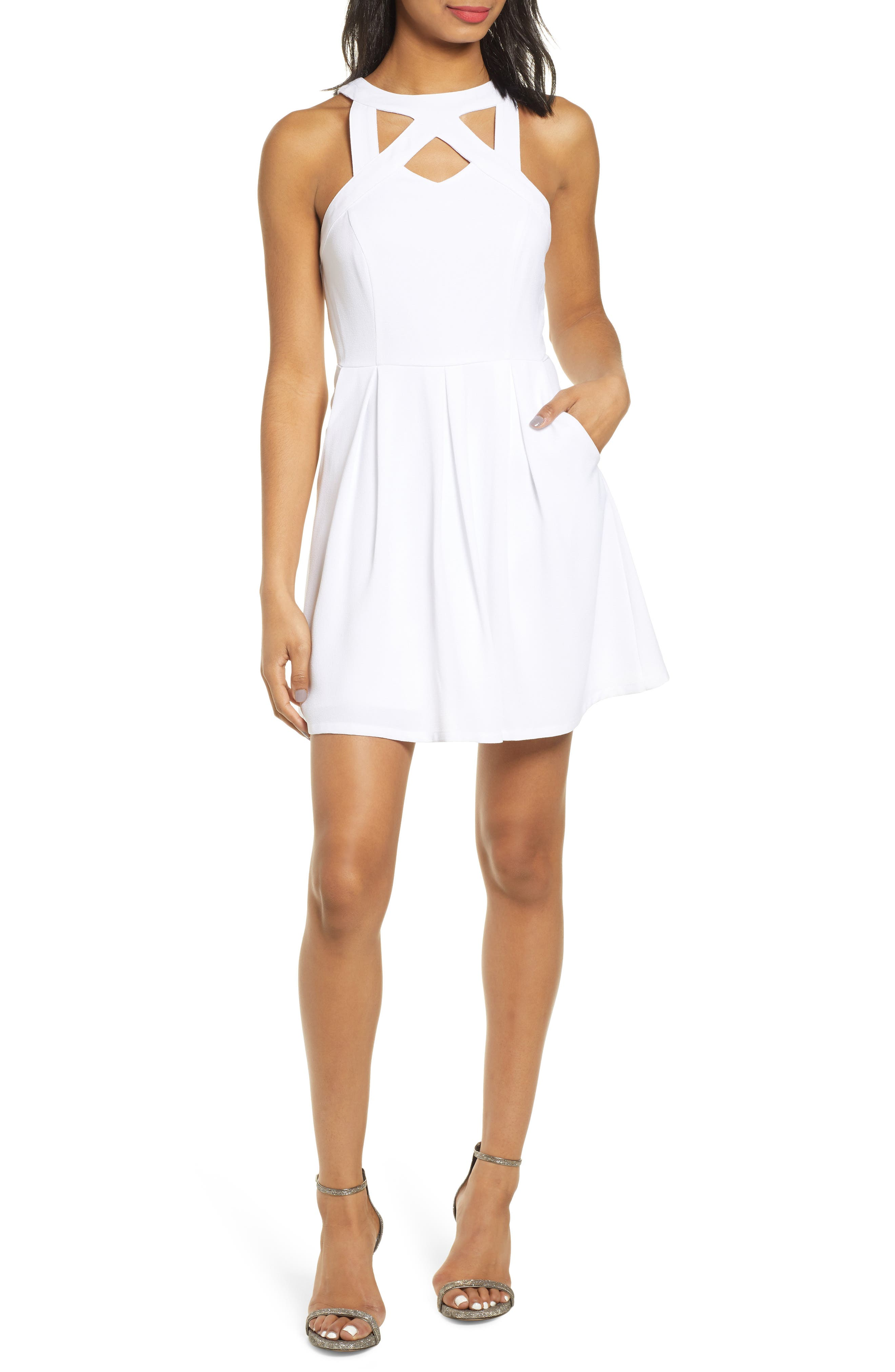Speechless Crepe Cutout Fit & Flare Dress, Ivory