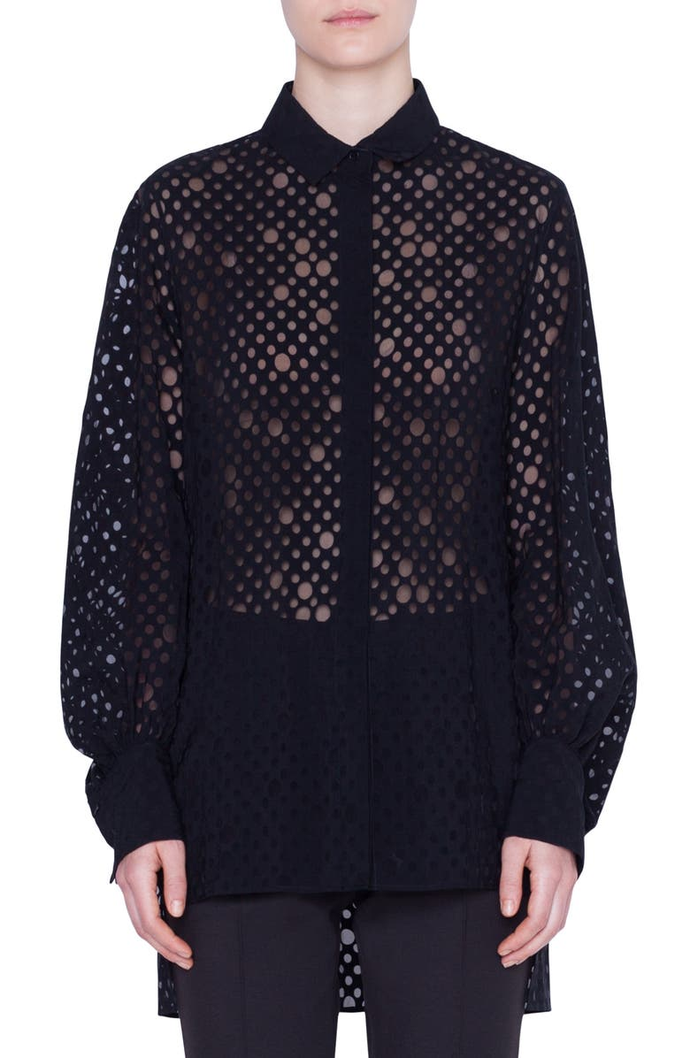 AKRIS PUNTO Dot Organza Tunic Shirt, Main, color, BLACK