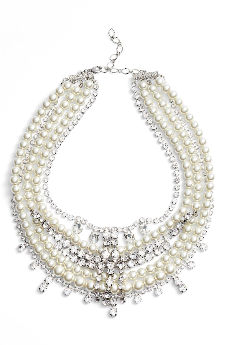 CRISTABELLE Crystal & Imitation Pearl Multistrand Necklace, Main, color, SILVER