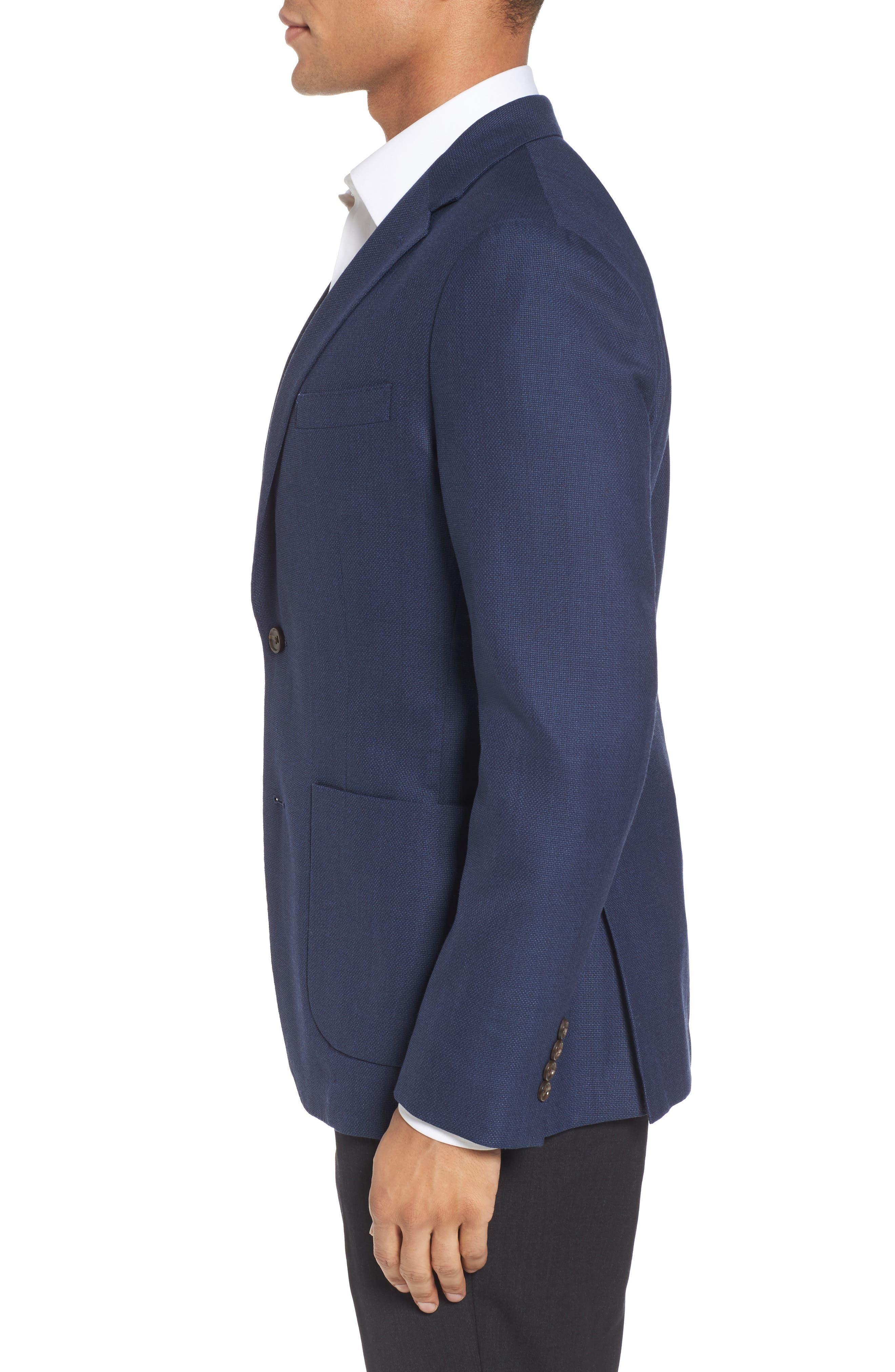 ,                             Slim Fit Wool Unconstructed Sport Coat,                             Alternate thumbnail 4, color,                             BLUE