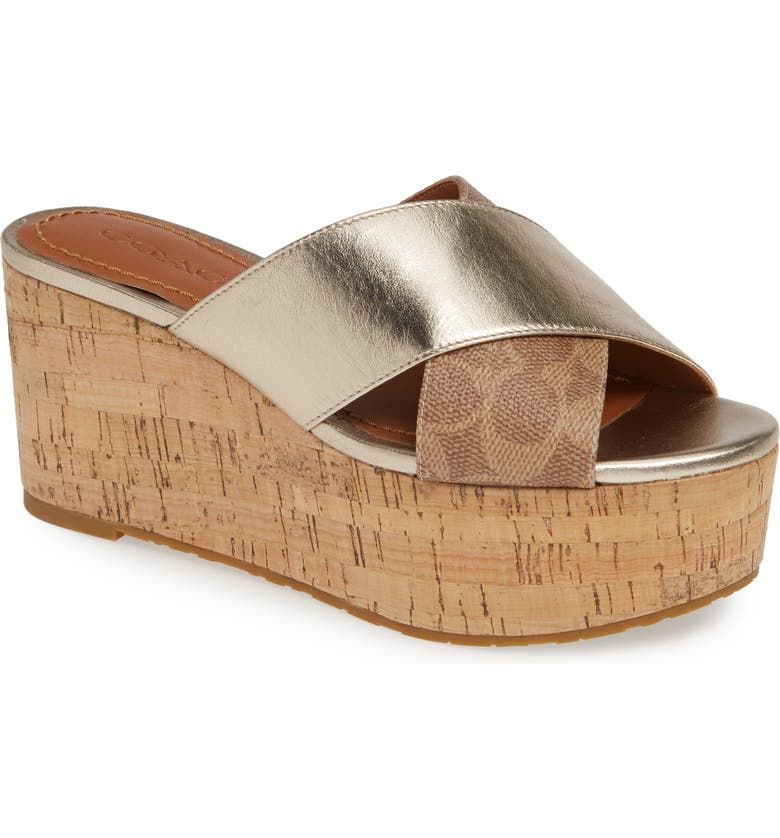 COACH Logo Embossed Wedge Slide Sandal, Main, color, TAN/ CHAMPAGNE LEATHER