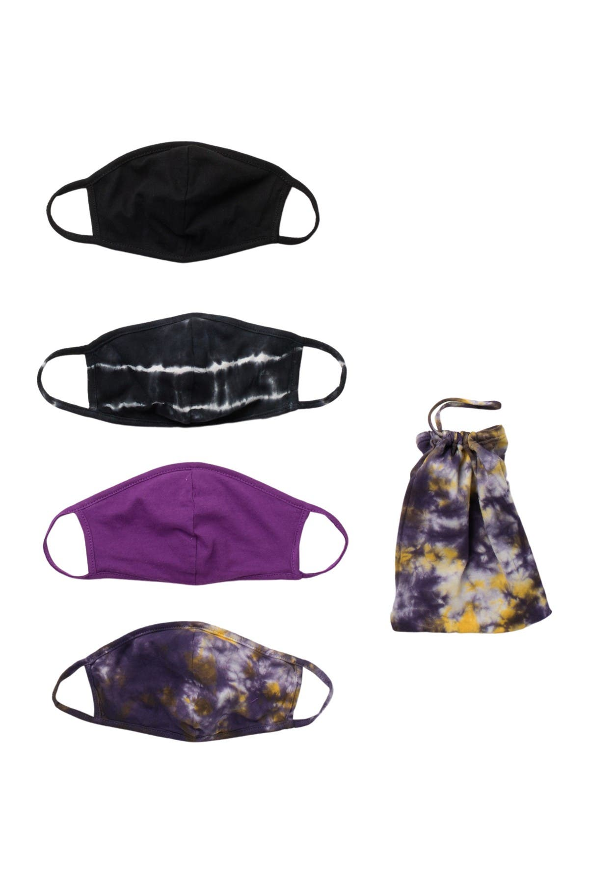 Image of Nordstrom 4-Pack Kids' Tie Dye Face Masks
