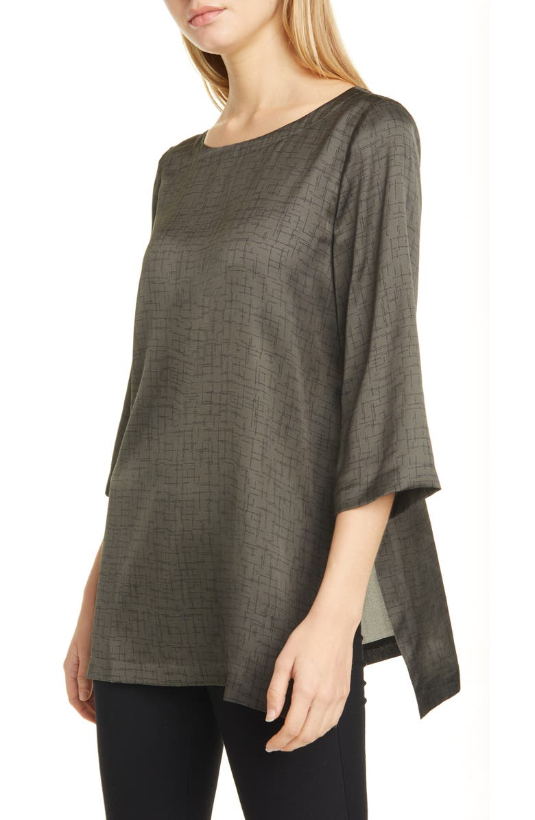 EILEEN FISHER Crosshatch Print Silk & Organic Cotton Tunic Top, Main, color, 258