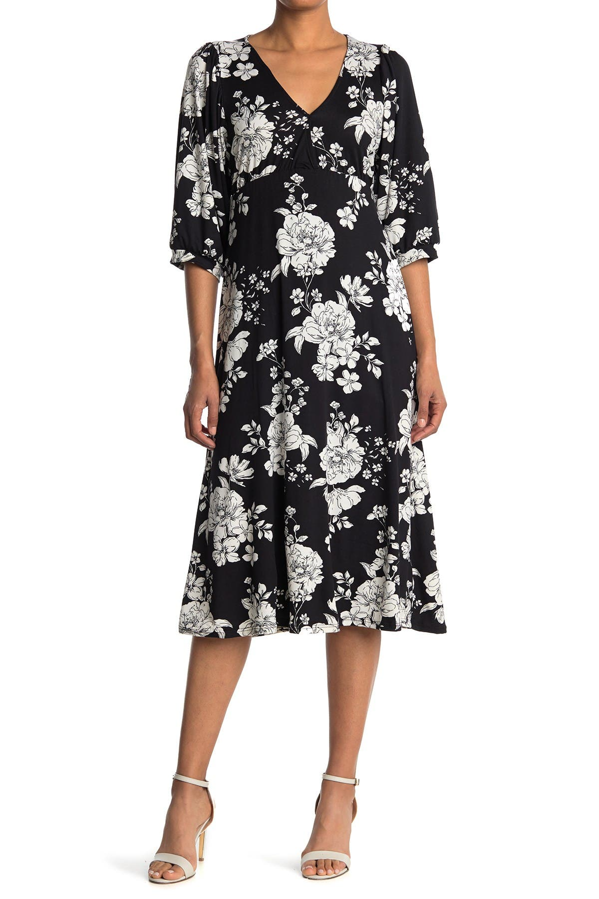Image of Velvet Torch Floral Print V-Neck Dress
