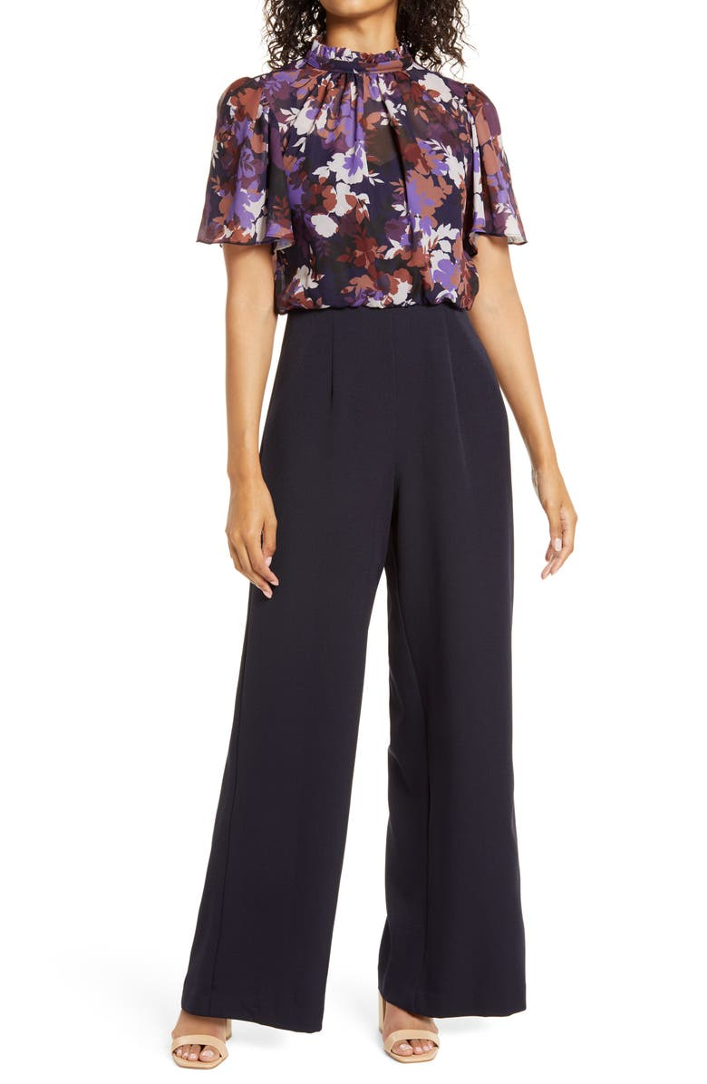 JULIA JORDAN Floral Bodice Chiffon & Crepe Jumpsuit, Main, color, NAVY MULTI