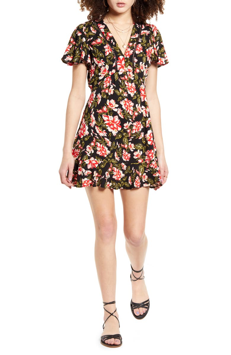BAND OF GYPSIES Floral Flutter Sleeve Minidress, Main, color, RED FLORAL