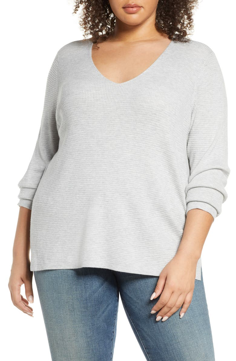 CASLON<SUP>®</SUP> Waffle Stitch V-Neck Sweater, Main, color, GREY LIGHT HEATHER
