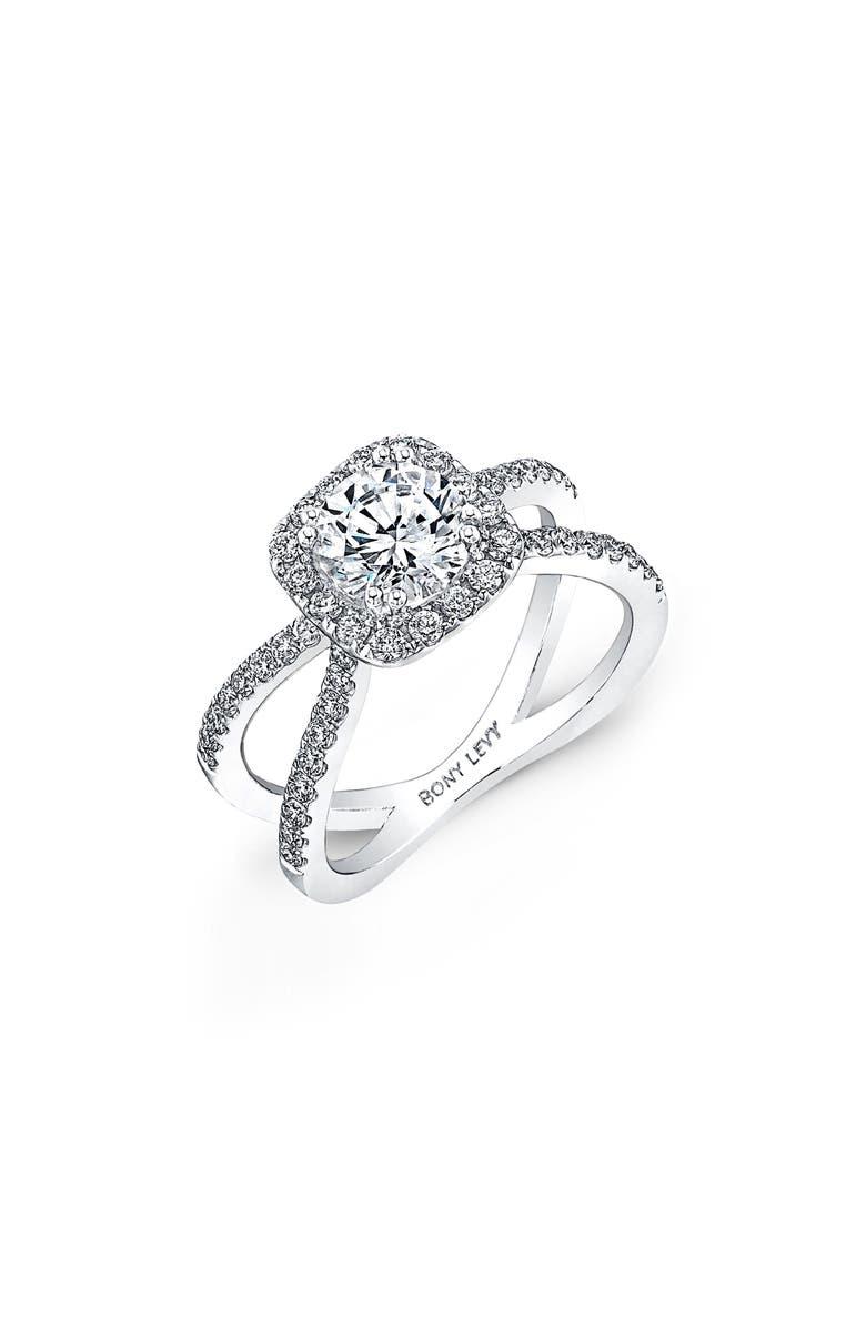 BONY LEVY Pavé Diamond Split Shank Round Engagement Ring Setting, Main, color, WHITE GOLD