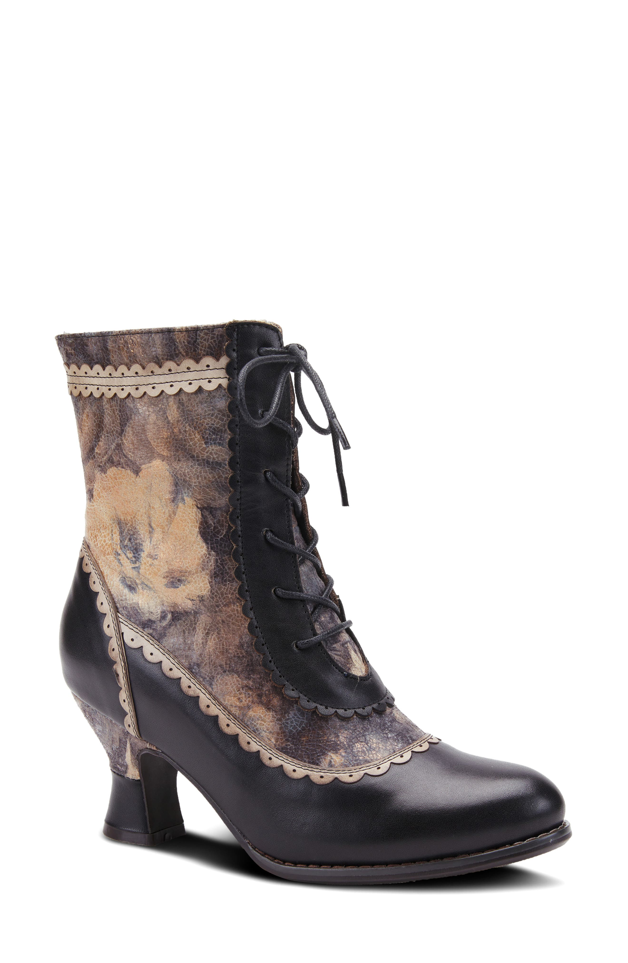 Hand-painted leather, scalloped trim and a decidedly vintage silhouette define this striking lace-up bootie outfitted with a comfortably cushioned footbed. Style Name:L\\\'Artiste Bewitch Floral Bootie (Women). Style Number: 6117373. Available in stores.