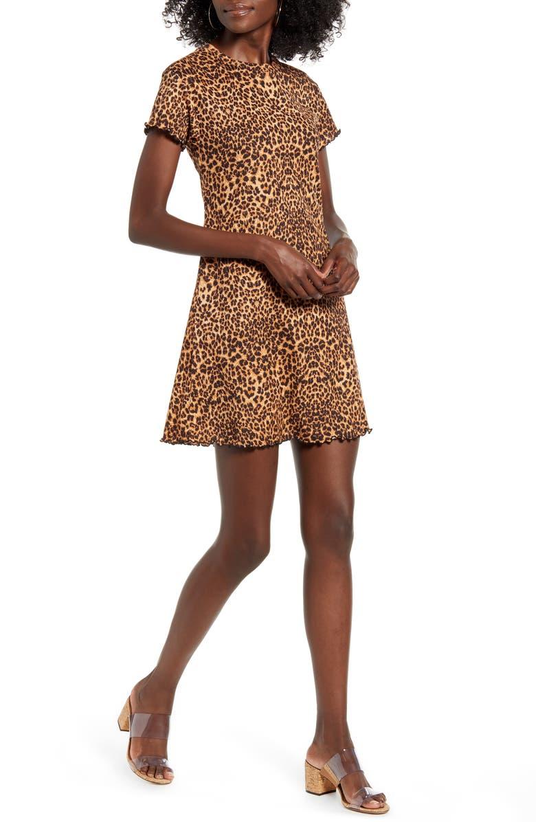 GOOD LUCK GEM Leopard Print Rib Minidress, Main, color, 200