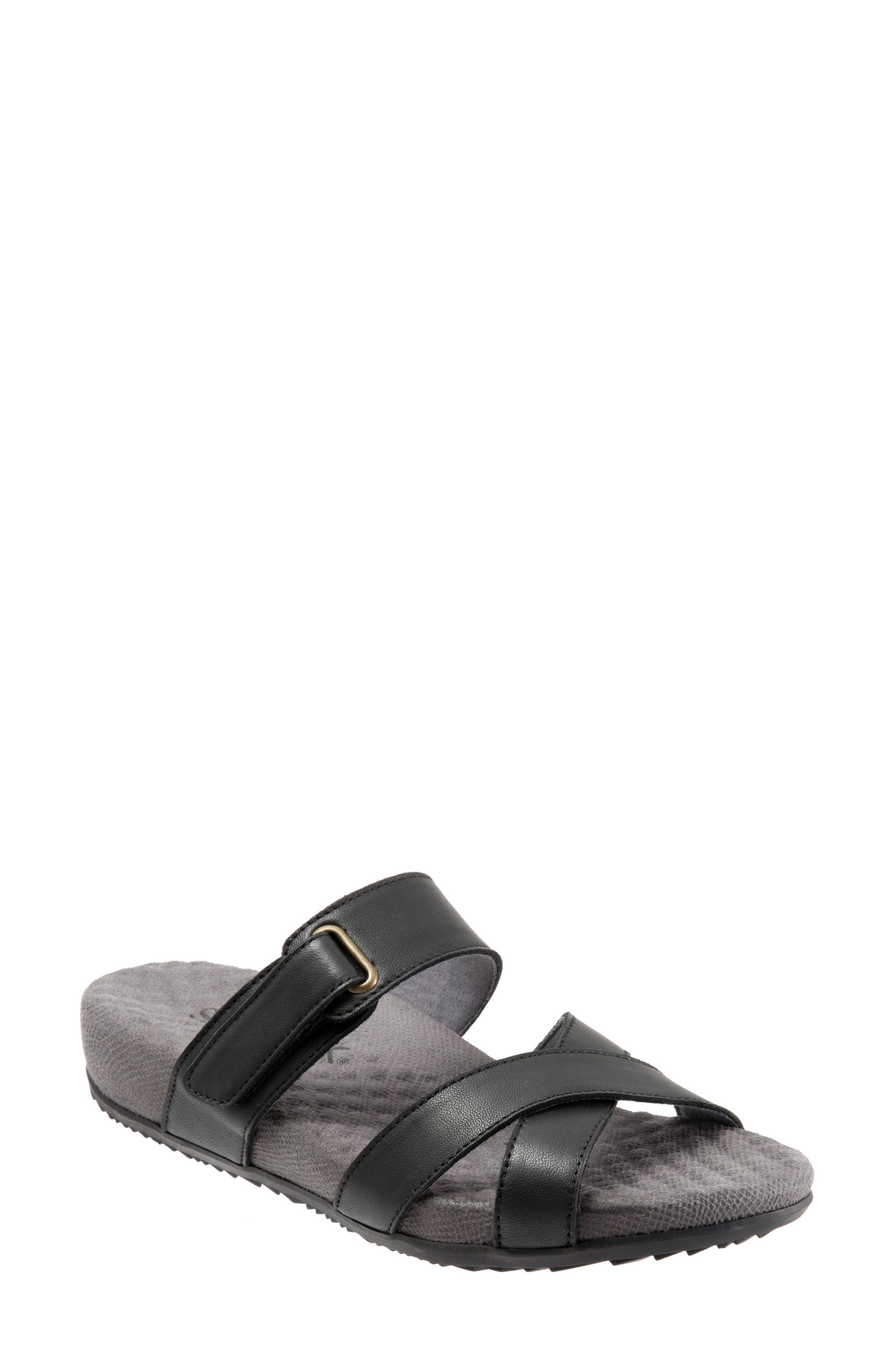 Brimley Sandal, Main, color, BLACK LEATHER