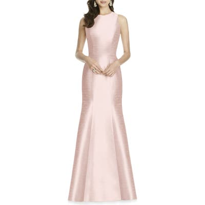 Plus Size Alfred Sung Dupioni Trumpet Gown, Pink