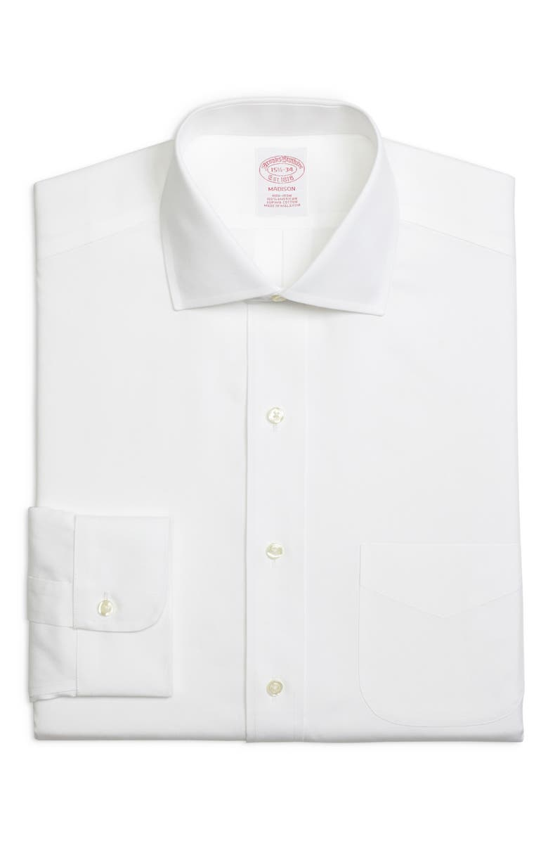 BROOKS BROTHERS Madison Classic Fit Solid Dress Shirt, Main, color, WHITE